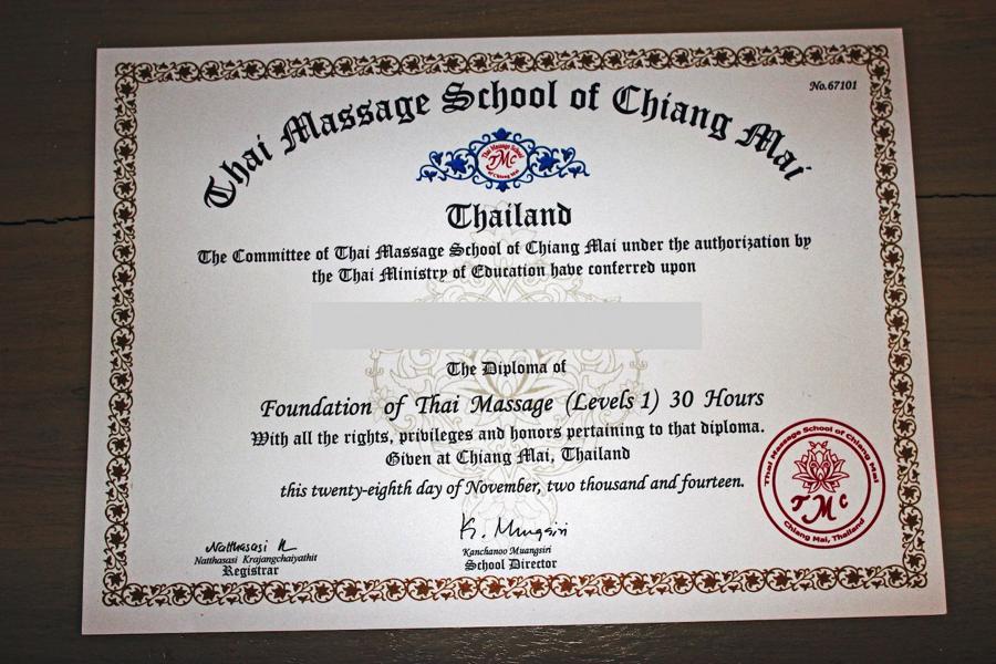 Сертификационный курс Основы тайского массажа в РИГЕ диплом образец